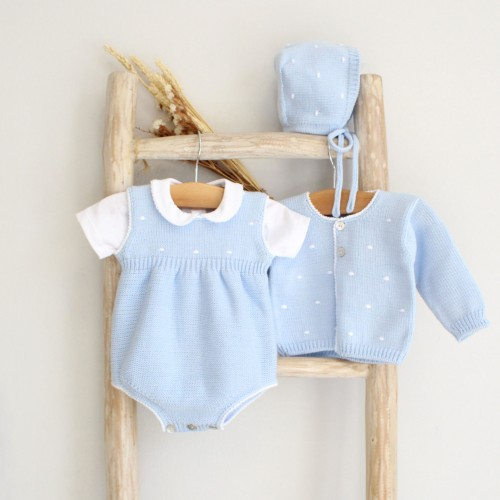 Blue Knitted Romper with Dots