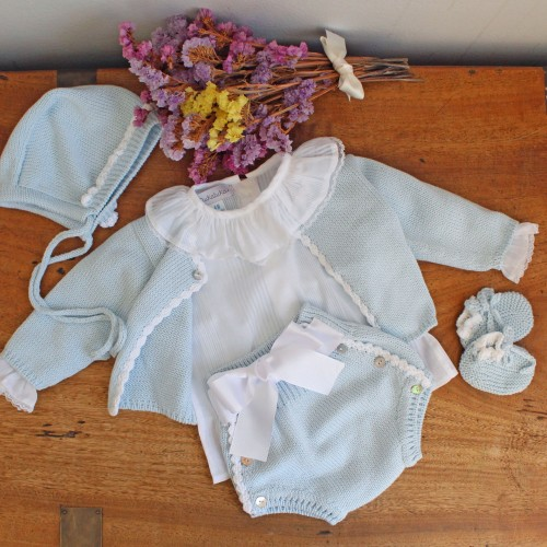 Blue Knitted Bloomers With Bow