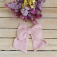 Dusty Pink linen Hair Bow