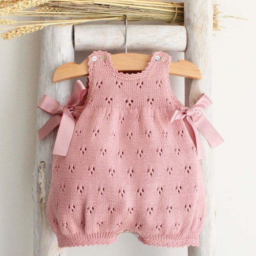 Organic cotton romper with side bows