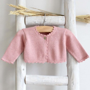 Organic cotton picot trim cardigan