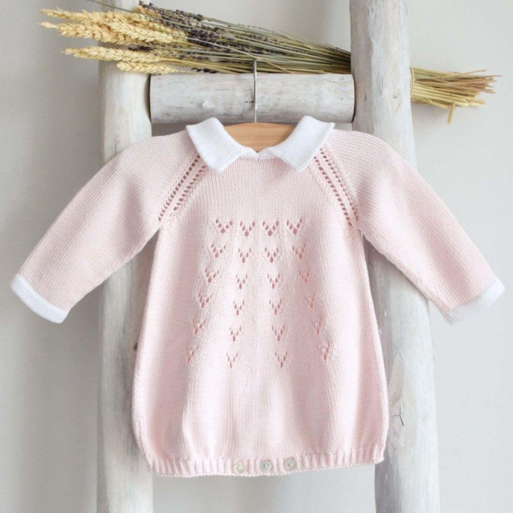 Cotton knitted romper with collar