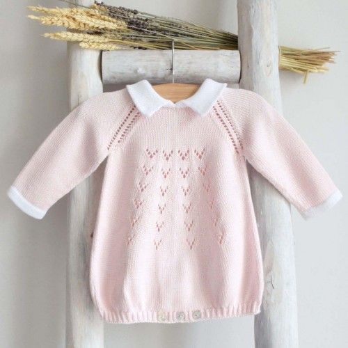 Knitted romper with collar