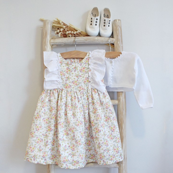 Floral dress with plumeti frill