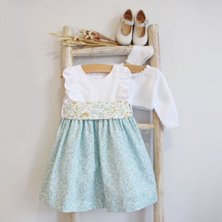 Linen Dress with floral plumeti sash