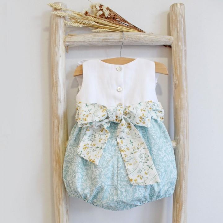Linen romper with floral plumeti sash
