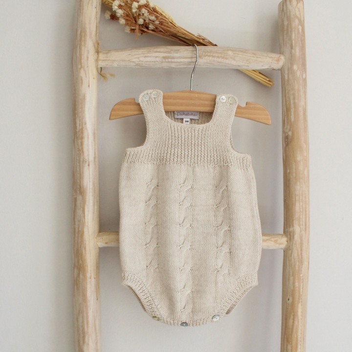 Wool cable romper