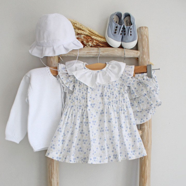 Blue Floral Dress with bloomers