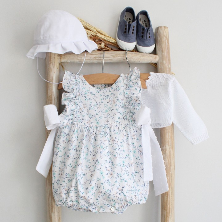 Floral Romper with plumeti bows