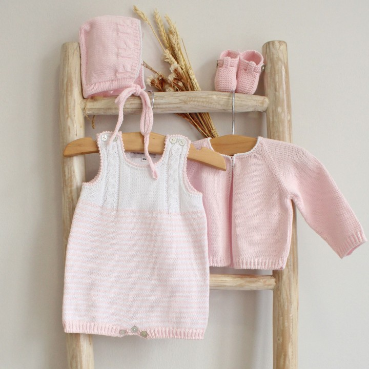 Cotton cables and stripes romper