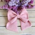 Pink linen Hair Bow