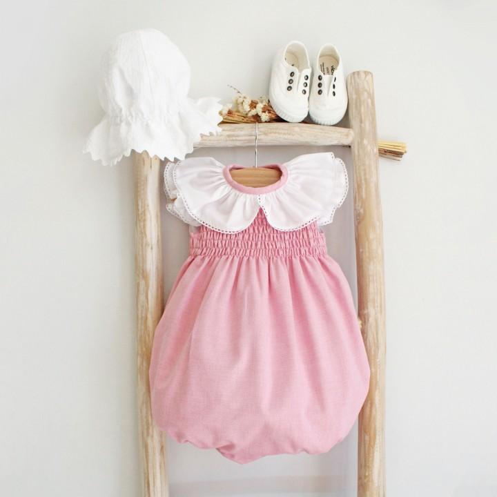 Smocked Romper with frilly collar