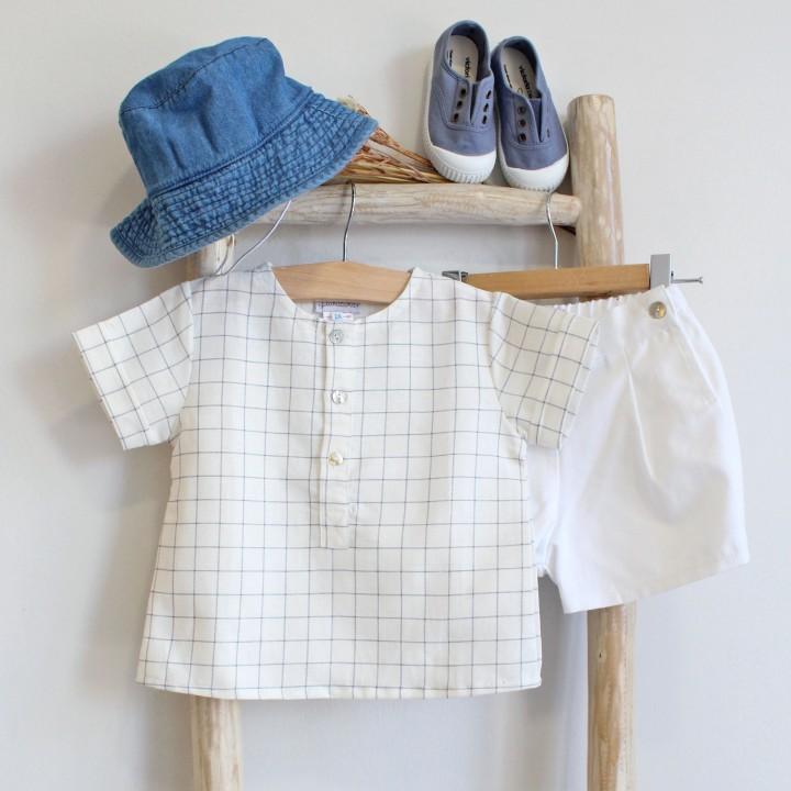 Camisa riscas azul e cinzento