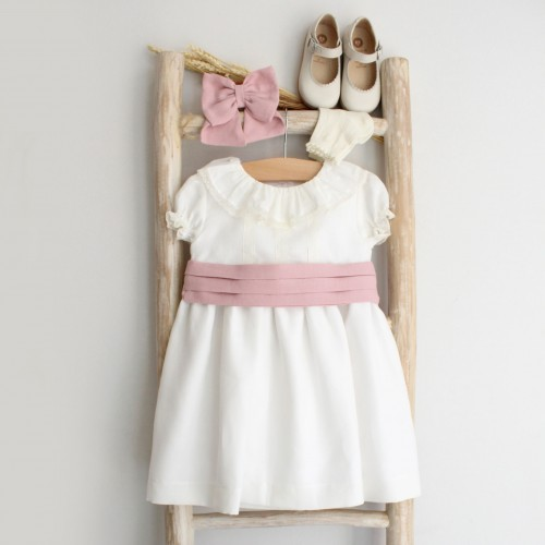 Pearl Linen Dress with Dusty pink sash