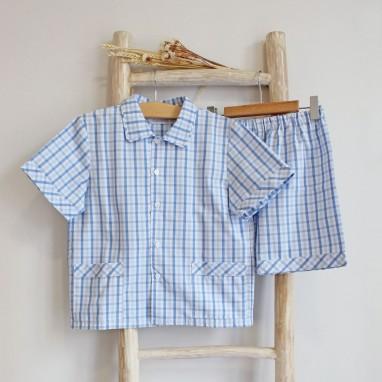 Pijama quadrados azuis