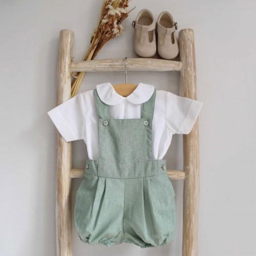 Green Linen Shortalls