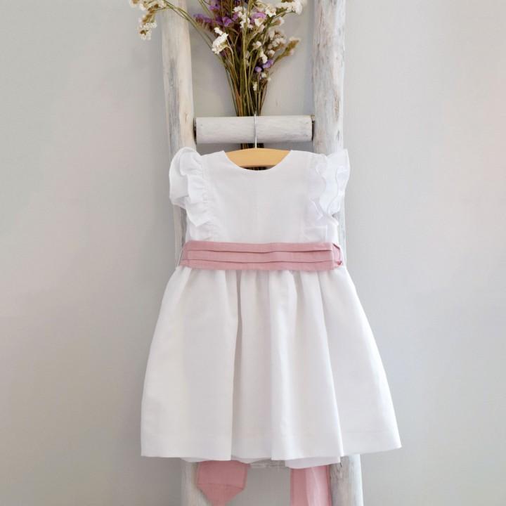 Vestido com faixa rosa velho