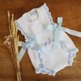 White and Blue Organic Cotton Romper
