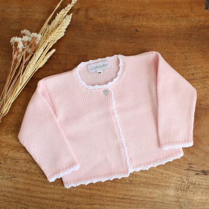 Trim cotton cardigan
