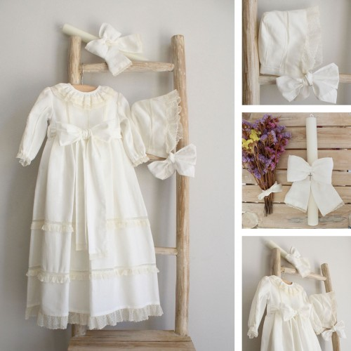 Ivory Linen Dress with Lace