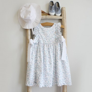 Blue Floral Dress with Bows