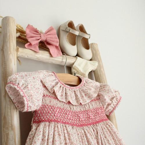Vestido Bordado Flores Rosa