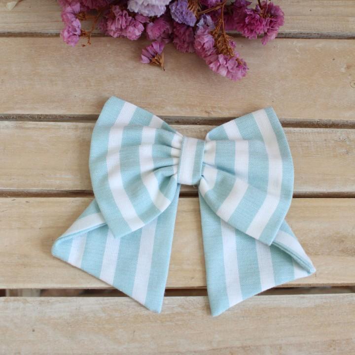 Green Stripes linen Hair Bow