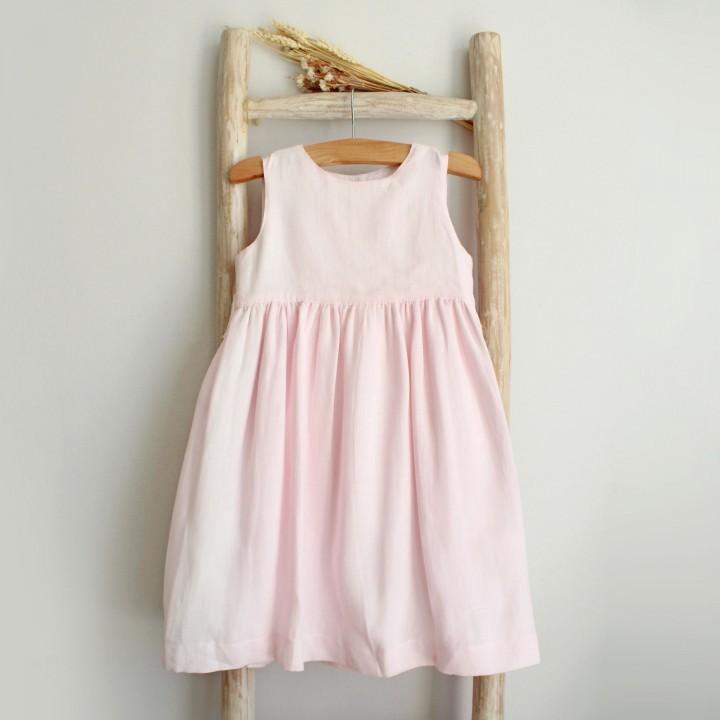Vestido Linho Rosa