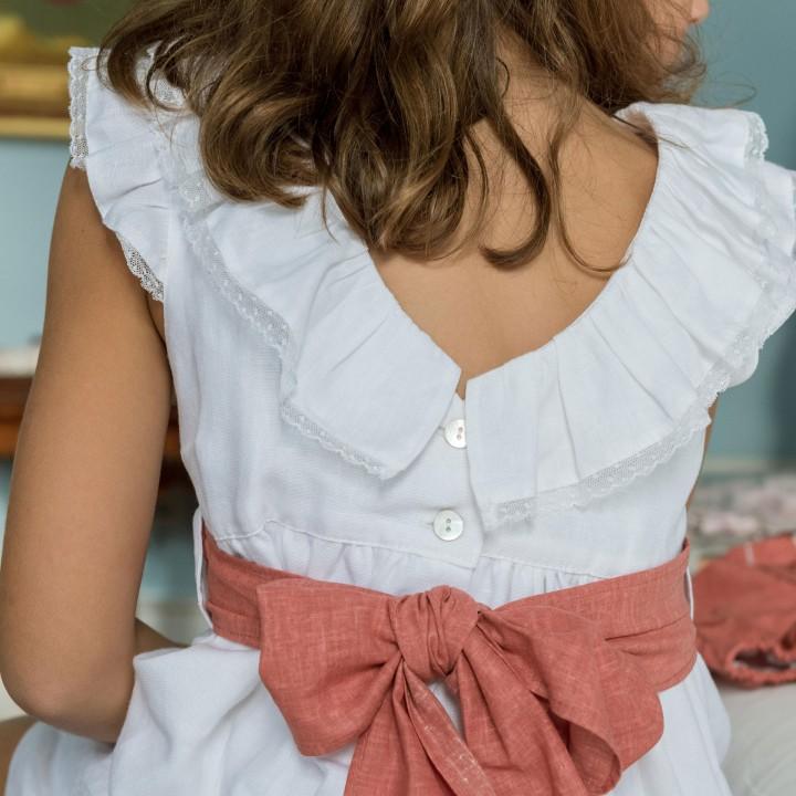 Vestido com faixa Tijolo
