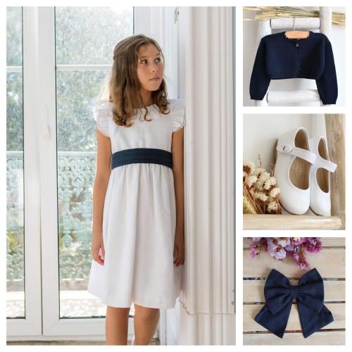 Linen dress with sash