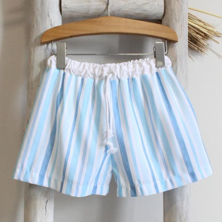 Light Blue Striped Boys Trunks
