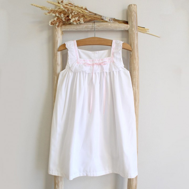 White gown with english embroidery