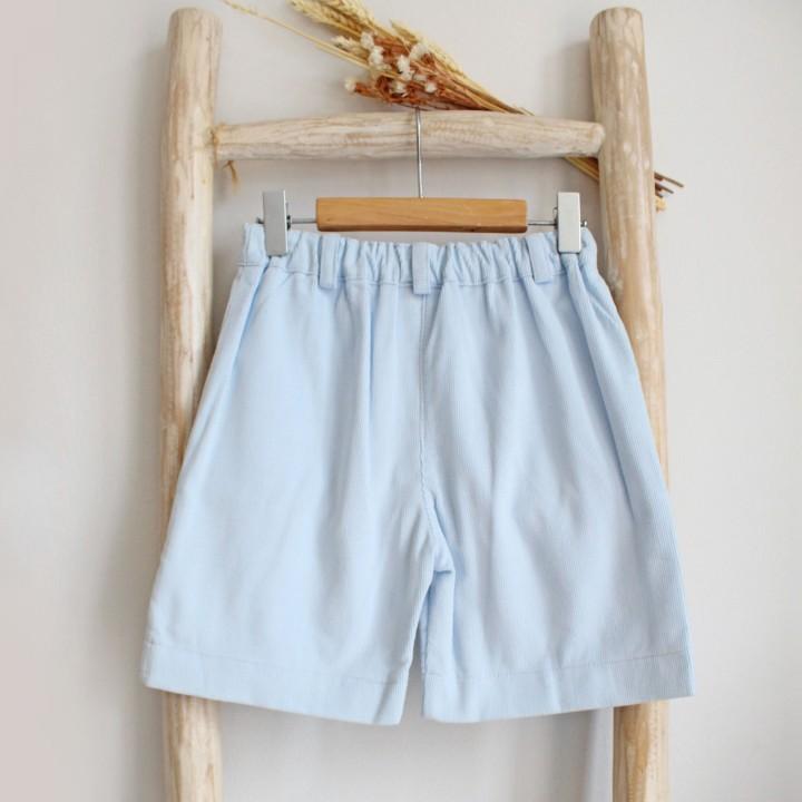 Corduroy light blue shorts