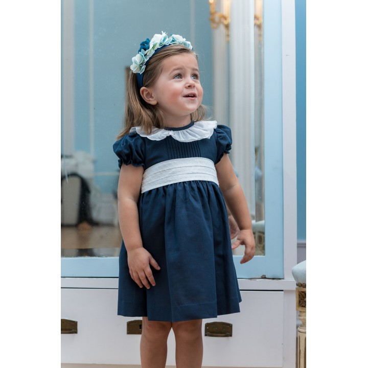 Navy Dress with English broderie collar