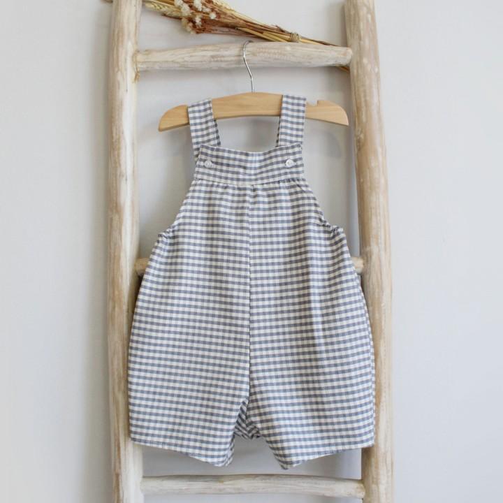 Grey plaid shortalls