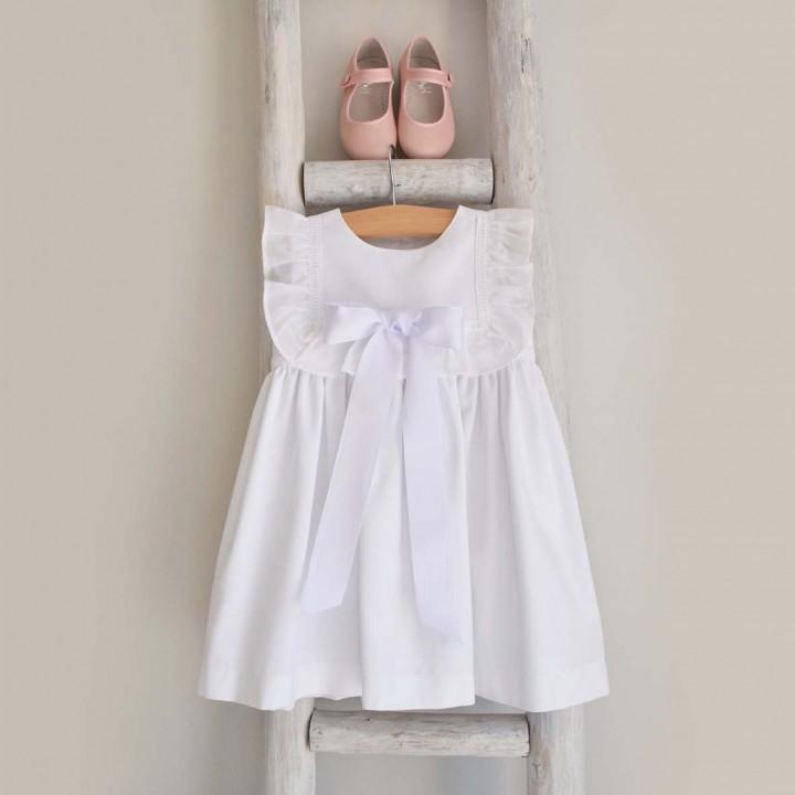 Vestido Branco com laço e folho