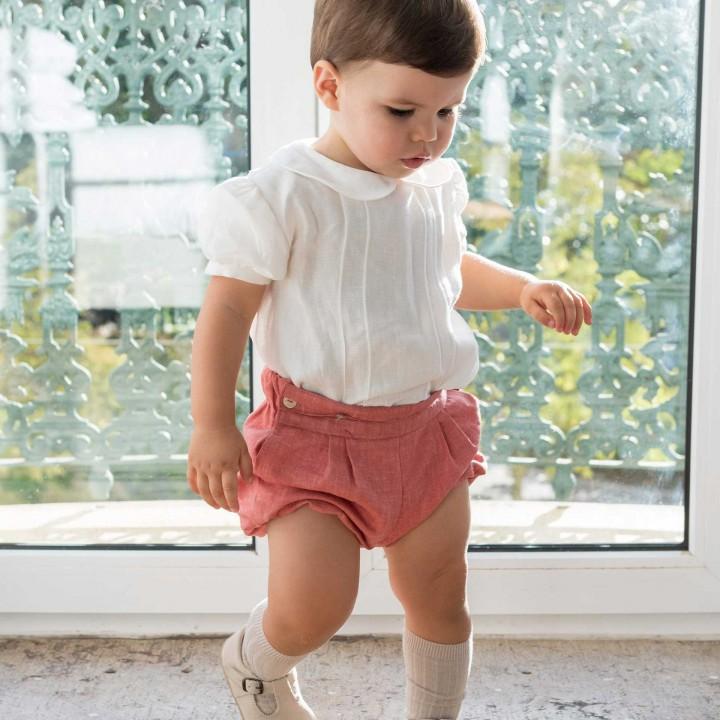 Brick linen shorts