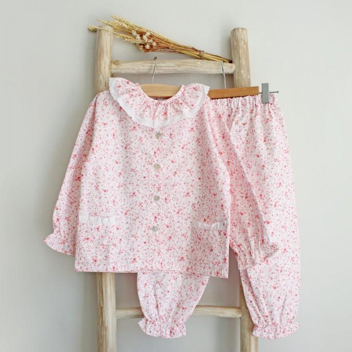 Pijama flores rosa