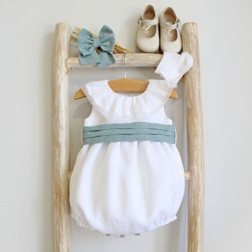 Frilly collar romper with green sash