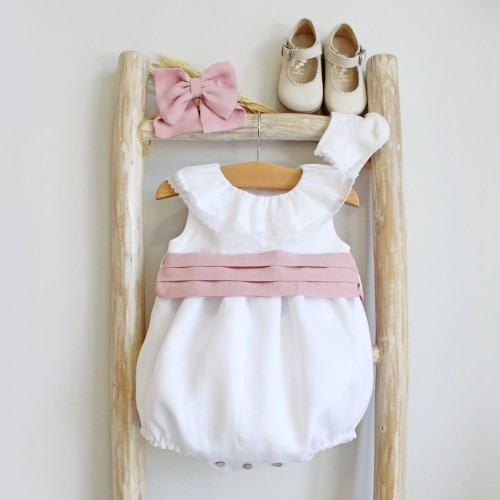 Frilly Collar romper with Dusty pink sash