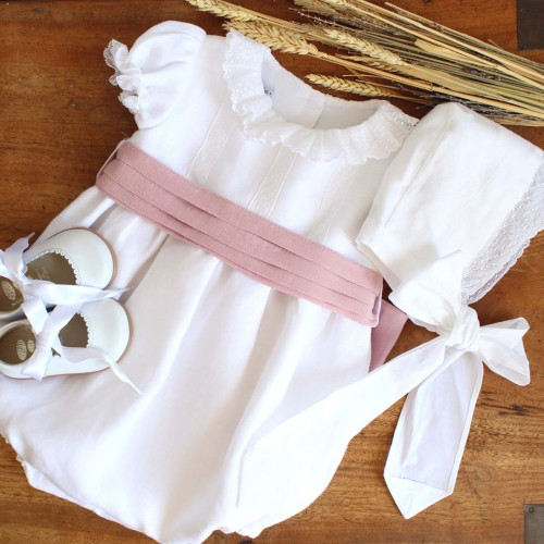 Linen Romper With Dusty Pink Sash