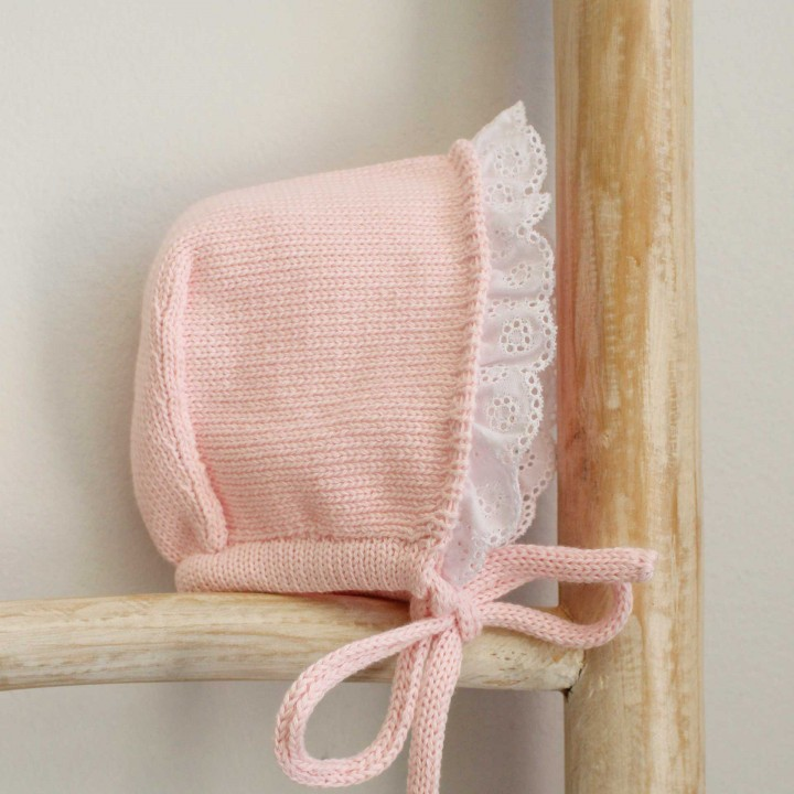 Trim cotton Bonnet with english embroidery