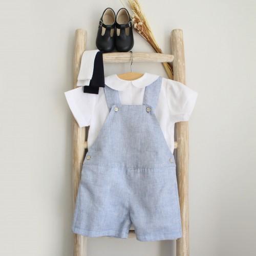 Blue linen Shortalls