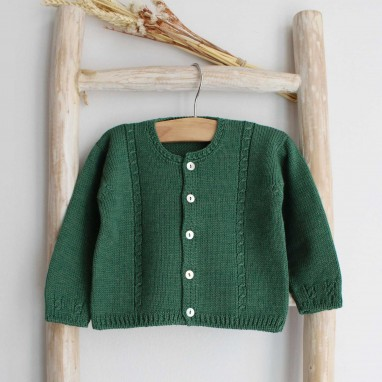 Green cable cardigan