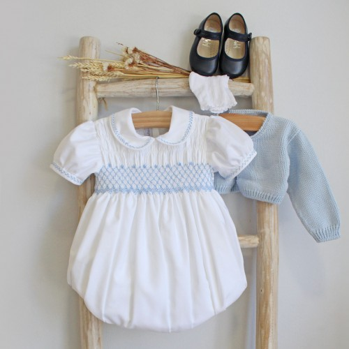 White Romper With Blue Hand Embroidery
