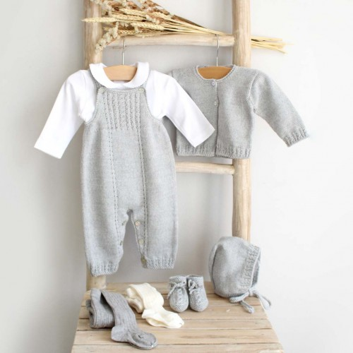 Grey Knitted Overalls