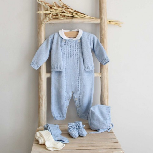 Blue Knitted Overalls