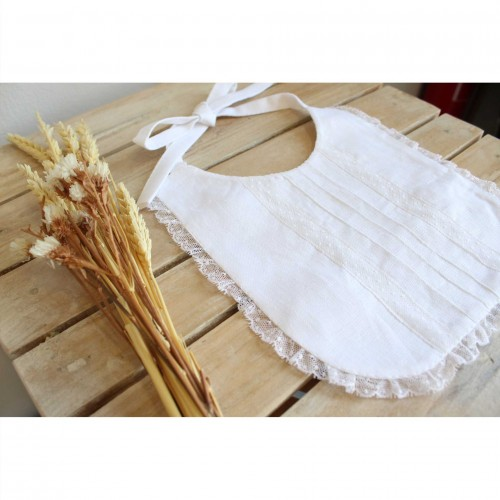 White Linen Bib with Lace