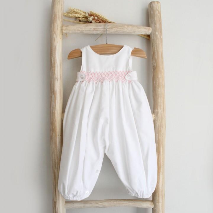 Hand Embroidered Newborn Overalls