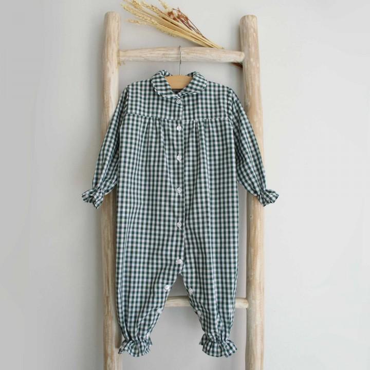 Green Vichy baby Pyjama